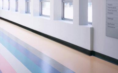 healthcare hallway rubber floor