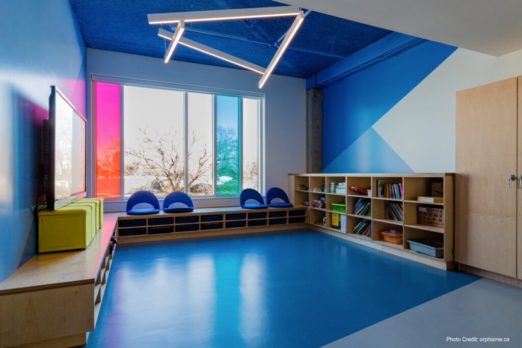 School Room With Blue Rubber Flooring