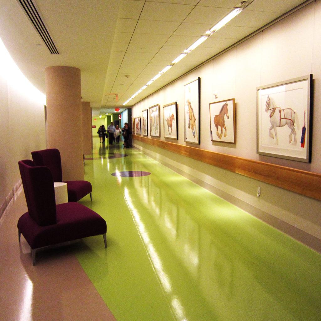 rubber flooring in children's hospital hallway