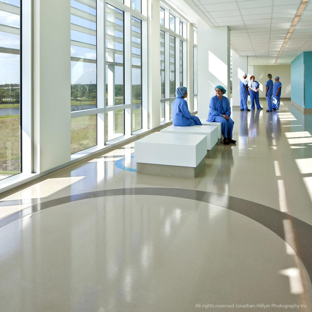 rubber flooring in children's hospital common area