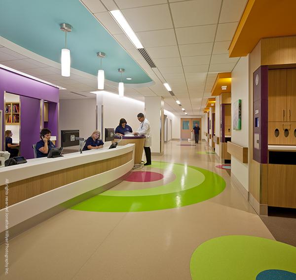 Rubber flooring in children's hospital
