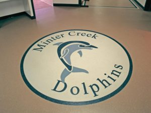 waterjet cut rubber flooring logo