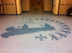 water cut logos in rubber flooring for lobby