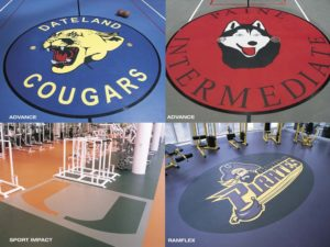 waterjet cut logos in rubber flooring for gym floors