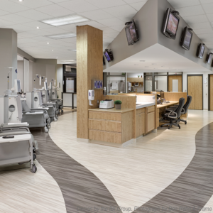 Mondo rubber flooring at dialysis treatment room