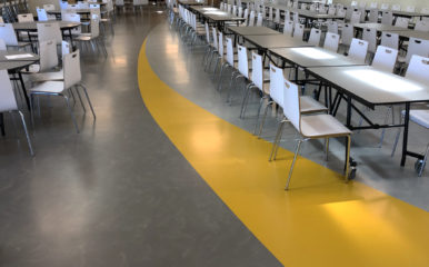 Antioch High School Cafeteria with Massetto Rubber Flooring for primary schools