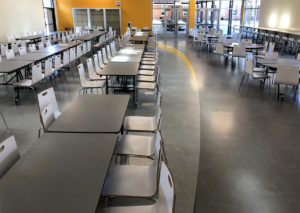 Rubber flooring for school cafeteria