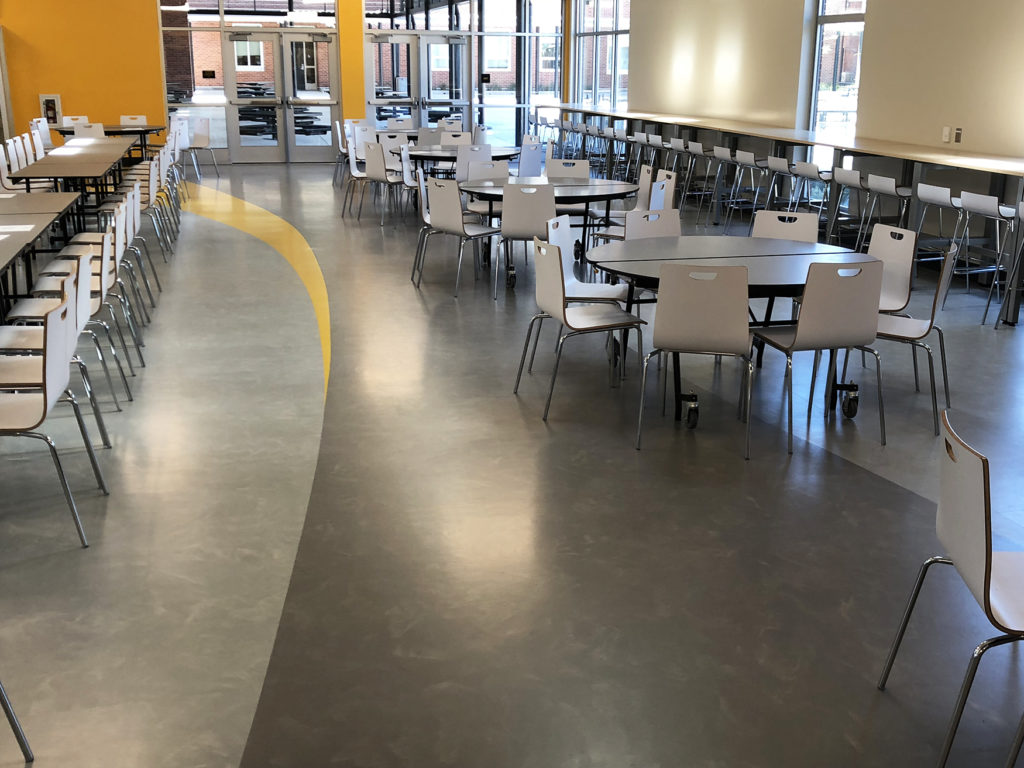 Massetto rubber flooring for high school cafeteria