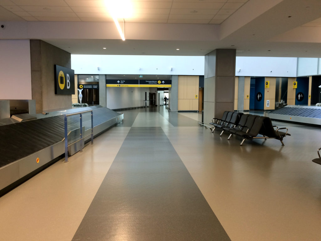 Hallway With Rubber Floor at Quebec City Airport Baggage Claim