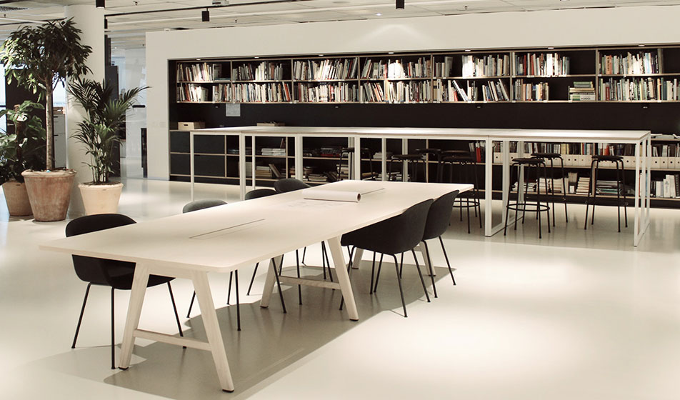 Rubber flooring with desks